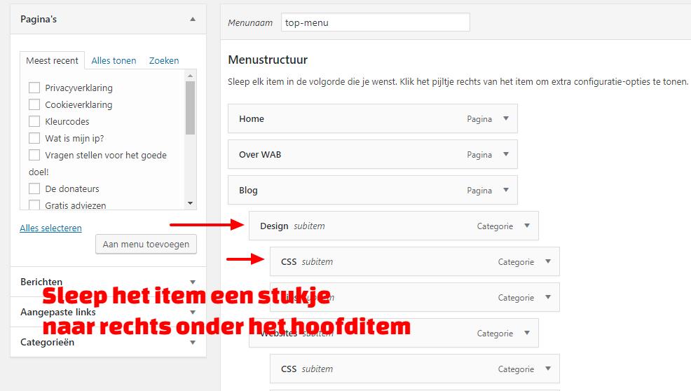 WordPress submenu maken