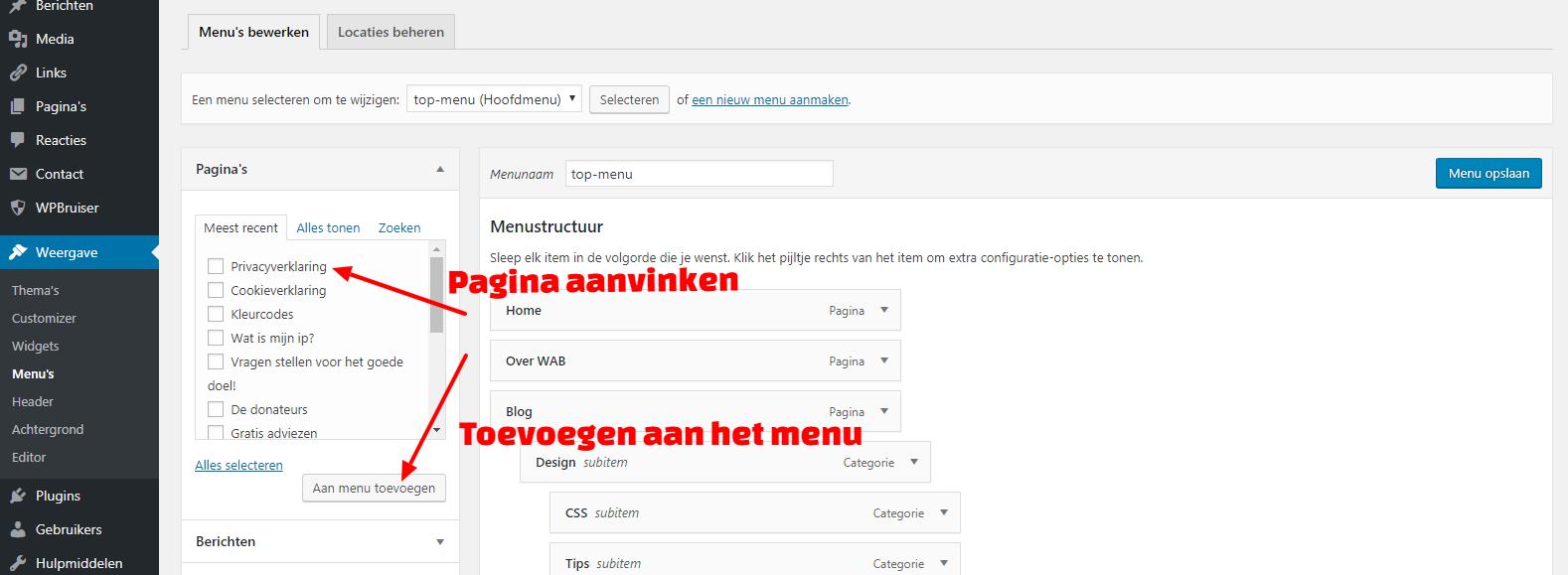 Wordpress menu toevoegen